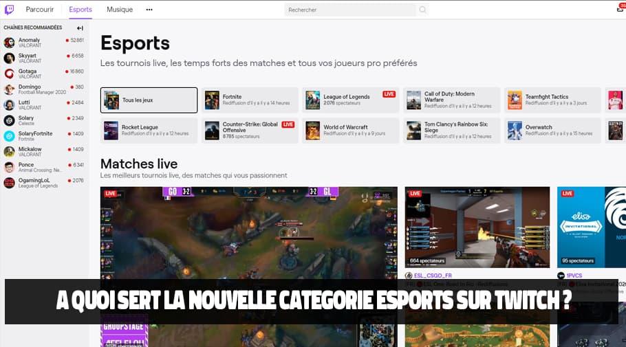 A quoi sert la nouvelle catégorie esports sur Twitch
