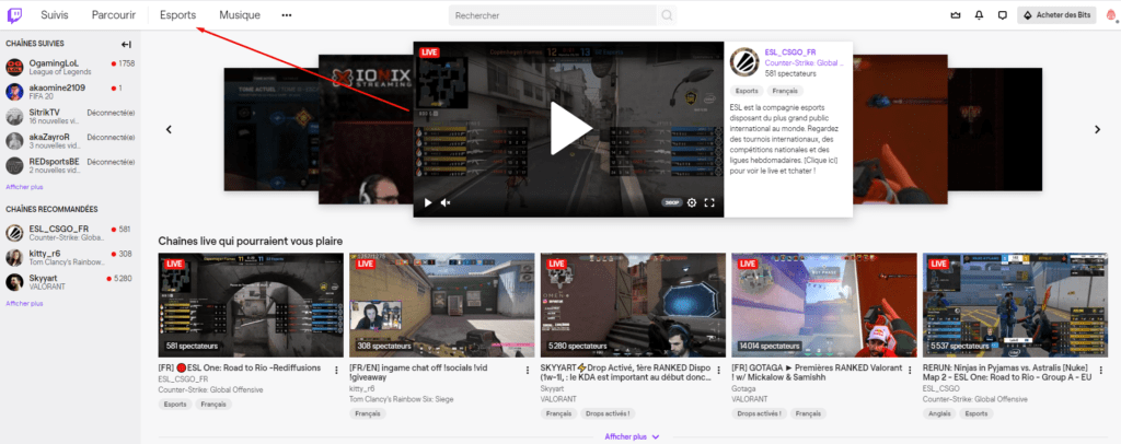 Nouvelle catégorie Twitch - Esports Discovery